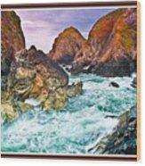 On The Coast Of Cornwall L B With Decorative Ornate Printed Frame. Wood Print