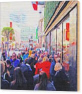 On The Day Before Christmas . Stockton Street San Francisco . Photo Artwork Wood Print