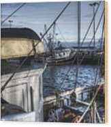 On The Docks In Provincetown Wood Print