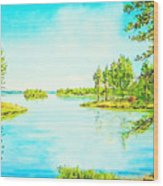 On The Lake In A Sunny Day 2 Wood Print