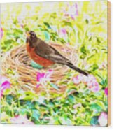 On The Nest Wood Print