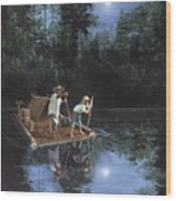 On The River Wood Print by Harold Shull