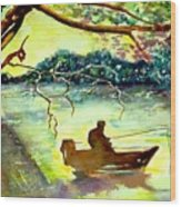 On The River Wood Print
