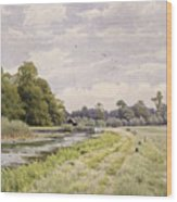 On The River Ouse Hemingford Grey Wood Print by William Fraser Garden