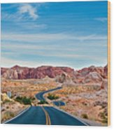 On The Road - Valley Of Fire Wood Print