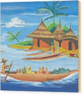 On The Shores Of Lake Kivu In Congo Wood Print