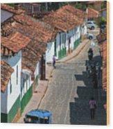 On The Streets Of Barichara - 3 Wood Print