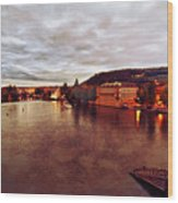 On The Vltava River Wood Print