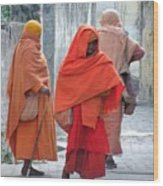 On The Way To Morning Prayers - India Wood Print