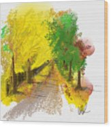 On The Yellow Road Wood Print