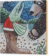 Once Bear And Salmon_part 1 Wood Print