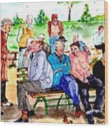 Once Upon A Park Bench Wood Print