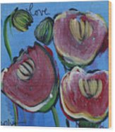 Once Upon A Yoga Mat Poppies 3 Wood Print
