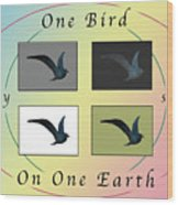 One Bird Poster And Greeting Card V1 Wood Print