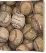One Clean Baseball Sitting In A Pile Wood Print by Phil Schermeister
