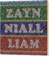 One Direction Names Bottle Cap Mosaic Wood Print