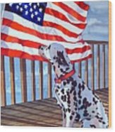 One Dog Salute Wood Print