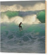 One Last Wave Dumps Maui Hawaii Wood Print