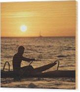 One Man Canoe Wood Print