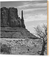 One Mitten Of Monument Valley Arizona - Black And White Wood Print
