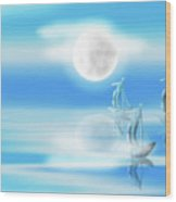 One Moon Light Sea Wood Print