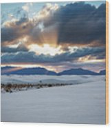 One More Moment - Sunburst Over White Sands New Mexico Wood Print