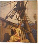 One More Step Mr. Hands - N.c. Wyeth Painting Wood Print