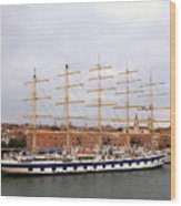 One Of Star Clipper's Masted Cruise Liners Docked In Venice Italy Wood Print