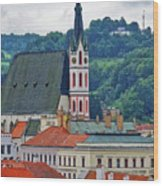 One Of The Churches In Cesky Kumlov In The Czech Republic Wood Print