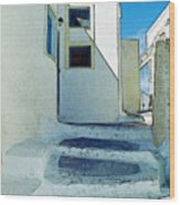 One Of The Streets Of Santorini Wood Print