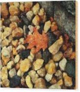 One Orange Leaf Wood Print