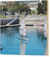 One-person Sailboats By The Commercial Pier In Monterey-california Wood Print
