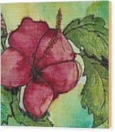 One Pink Hibiscus Wood Print