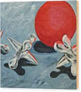 One Red Ball Wood Print
