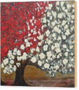 One Red Tree Wood Print