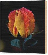 One Rose Wood Print