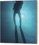 One Scuba Diver Underwater Wood Print