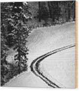 One Way - Winter In Switzerland Wood Print