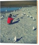 One With The Gulls Wood Print