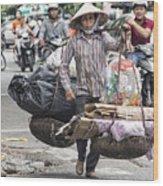 One Woman Street Life Hanoi Wood Print