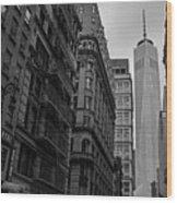 One World Trade Center New York Ny From Nassau Street Black And White Wood Print