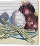 Onions And Asparagus - Miniature Wood Print