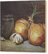 Onions And Garlic  Wood Print