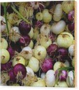 Onions Tri Color Wood Print by Brenda Pressnall