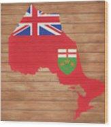 Ontario Rustic Map On Wood Wood Print