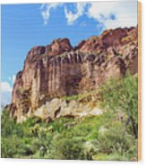 Onward And Upward At The Superstition Mountains Of Arizona Wood Print