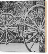 Oo Wagon Wheels Black And White Wood Print
