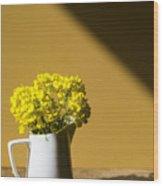 Good Morning Sunshine- Rapeseed Flowers And White Mug   Wood Print