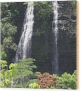 Opaekaa Falls On Kauai Before A Storm Wood Print