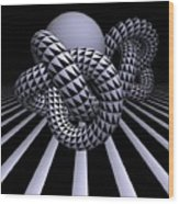 Opart Knots Wood Print